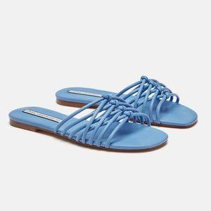 Zara Crossed Straps Tubular Sandals Blue Size 40